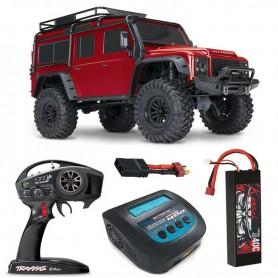 Pack Crawler rc Land Rover Defender Traxxas TRX-4 Rojo con 2 accesorios