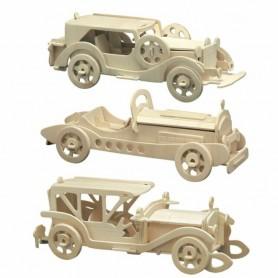 Kit Puzzle 3D 3 Coches de época de madera (39-46pz)