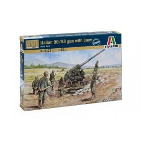 Kit Cañón Italiano 90/53 y 8 Soldados Italeri 1/72