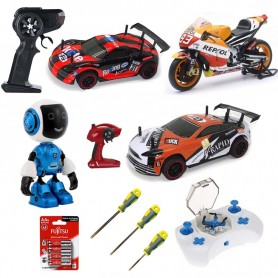 Pack 1 Familiar: 2 coches RC SPEED RACING, Moto, Mini drone, Mini Robot y 4 Acc.