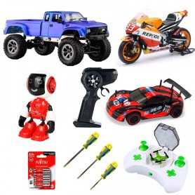 Pack 2 Familiar: 2 Coches RC (Rally y Crawler), Moto, Mini drone, Mini Robot y 4 Acc.
