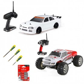 Pack 5 familiar: Coche Drift VRX X-RANGER, Coche RC Monster Truck Wltoys BRAVE PRO y 4 acc.