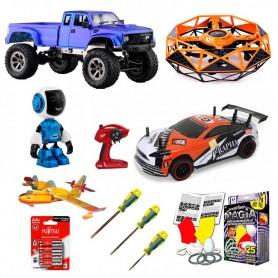 Pack 3 Familiar: 2 Coches RC (Drift y Crawler), 4 juguetes y 4 acc.
