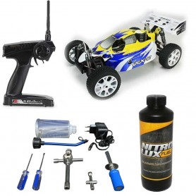 Pack Coche RC Buggy VRX-2 1/8 90Km/h (Nitro) amarillo + Kit de Arranque + Gasolina