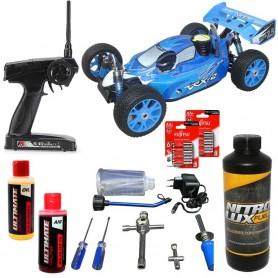 Pack Coche RC Buggy VRX-2 1/8 90Km/h (Nitro) azul + Accesorios