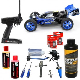 Pack Coche RC Buggy VRX-2 1/8 90Km/h (Nitro) negro + Accesorios