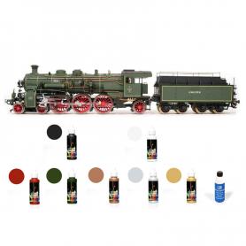Pack Locomotora Occre BR-18 con pinturas y barniz