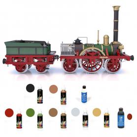 Pack Locomotora Occre ADLER con pinturas, tinte y barniz