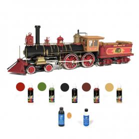Pack Locomotora Occre ROGERS 119 con pinturas, tinte y barniz
