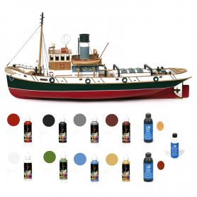 Pack Maqueta Barco Occre ULISES con pinturas, tintes y barniz