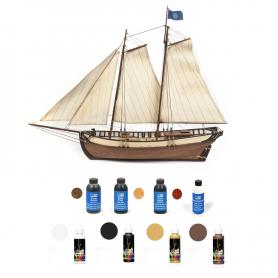 Pack Maqueta Barco Occre POLARIS con pinturas, tintes y barniz