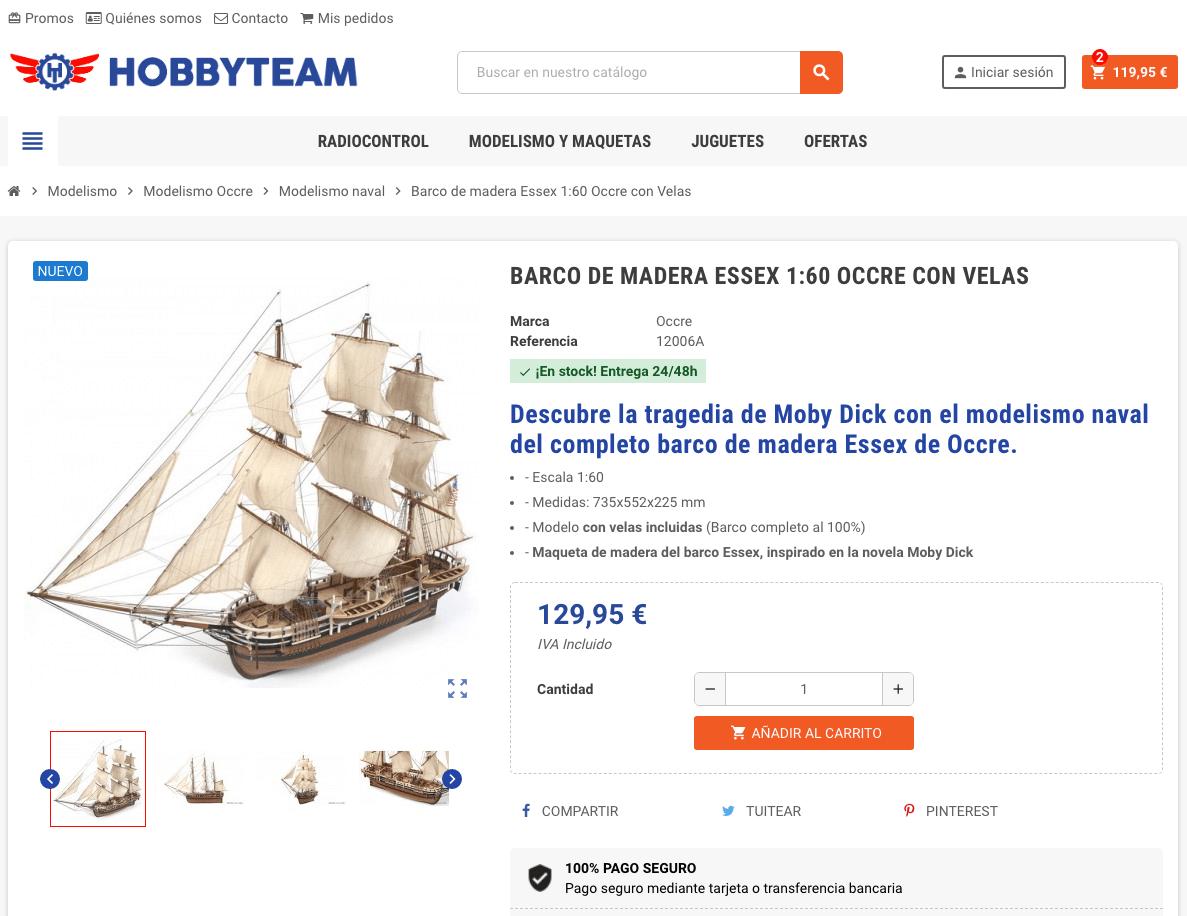 Añadir producto al carrito en Hobbyteam