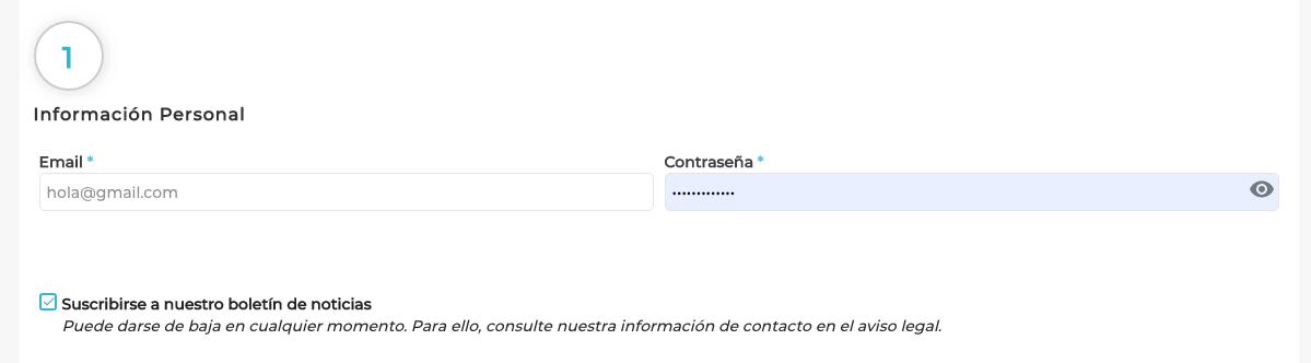 Email y contraseña para registrarse en Hobbyteam