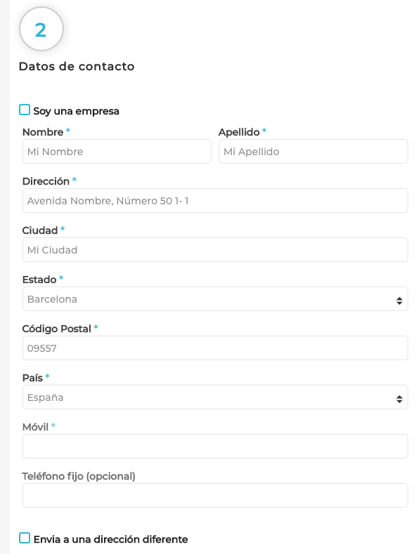 Datos de contacto cliente Hobbyteam
