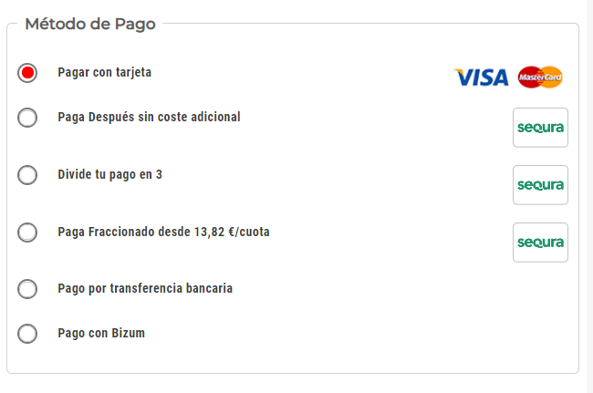 Métodos de pago online Hobbyteam